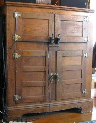 Antique Ice Box Oak Oversize 4 Doors Original Finish 1910