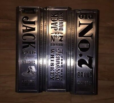 Jack Daniels Old No 7 Tennessee Whiskey Metal Tin Can Hinged Lid -(3) EMPTY