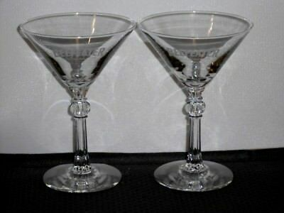 2 Beefeater London Dry Gin MARTINI GLASSES Cut Stem Etched - Free Ship
