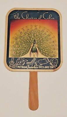 Vintage 1933 Putnam Fadeless Dyes Peacock Advertising Paper Hand Fan