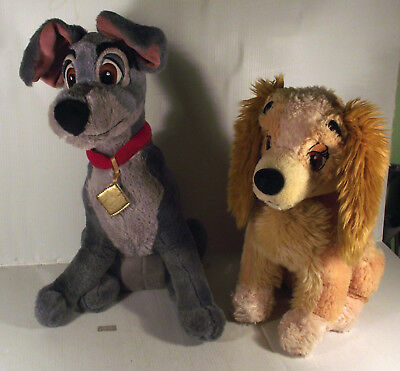 """DISNEY STORE 14"""" TRAMP + 12"""" LADY - 2 x THE LADY AND THE TRAMP DOG SOFT TOY"""