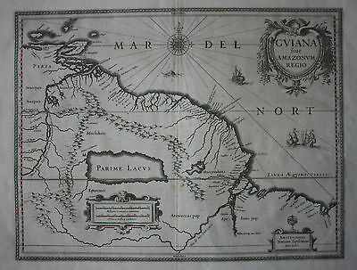 Original antique map SOUTH AMERICA, GUYANA, EL DORADO, Jansson, Janssonius c1645