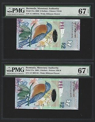 2009 Bermuda $2 Dollars, PMG 67 EPQ SUPERB GEM UNC, P-57a LOW SERIAL NUMBER PAIR