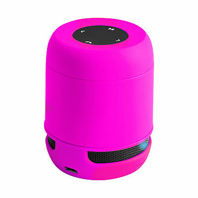 Bluetooth Laustsprecher tragbare Musikbox wireless 3,5mm AUX SD-Karte Neon-Pink