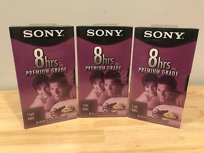3 Pack of SEALED Sony T-160 8 Hrs Blank VHS Video Tape Premium Grade VCR T-160VL