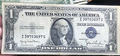 1935 D $1 Dollar Bill Old Us Paper Money Currency Blue Seal Collector Note.3697G