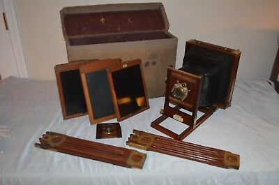 Century Folding Camera with box of 13 plate holders and other accessories