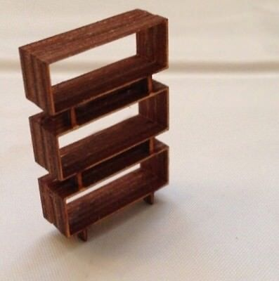 DOLLHOUSE MINIATURE Quarter Scale Mid Century Modern Bookcase ...