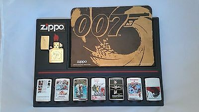 Zippo Lighters Lot Set 8 James Bond 007 Sean Connery Stand-up Display Card New