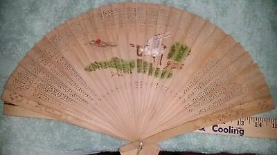 "Vtg Wood 15"" Carved, Pierced, Hand-Painted, 2 Sided Folding Fan- Tassels- China"