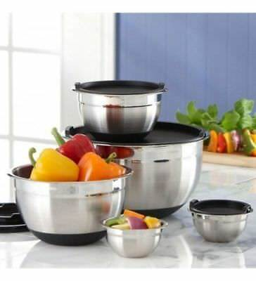 Brand New Kirkland 5 Piece Stainless Steel Prep Mixing Bowls with Lids - Black