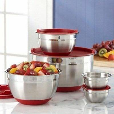 Brand New Kirkland 5 Piece Stainless Steel Prep Mixing Bowls with Lids - Red