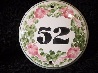 Rye Cinque Ports Pottery House Number Plaque 52 The Monastery Fuschias Flowers