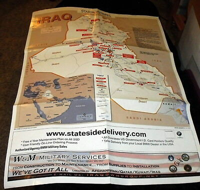 US Military Stars & Stripes Map Iraq Theatre Operations & Camps, Bases, Roads.
