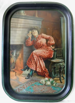 """pre prohibition PROSIT 73 tin litho beer tray 17 1/2""""x12 1/4"""" lady drinking beer"""