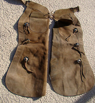 Real Vintage Leather Working Chaps 2 Pockets Western Wear Cowboy Rancher Gear