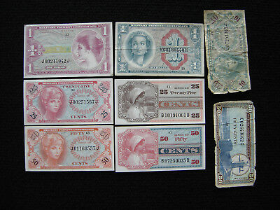 USA MPC Lot of 8 Notes VG to AU-UNC