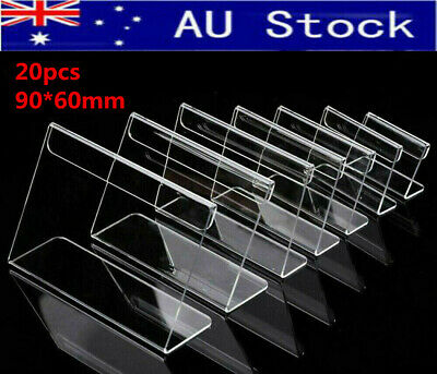 AU 20pcs 9x6cm Acrylic Sign Label Name Card Price Tag Shop Stands Display