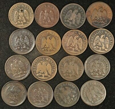 1870-1898 Mexico Lot Of (16) Large Centavos