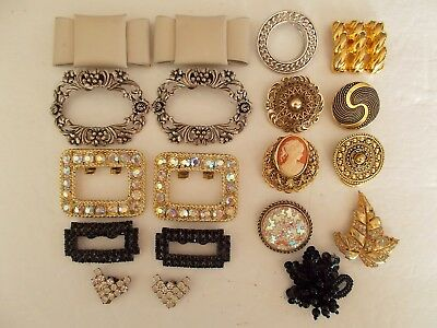 Vintage Shoe Buckles and Dress Clip Lot  Musi -  Made In France -  W. Germany
