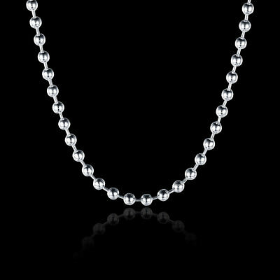 """16""""-24"""" Mens Womens 925 Sterling Silver 3mm Thick Ball Bead Chain Necklace #N170"""