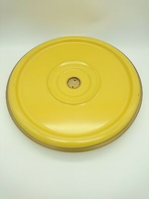 Vintage 1960's Lazy Susan Bright Yellow Metal Rotating Serving Tray 11.22.63