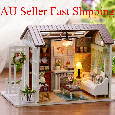 Wooden Dollhouse Miniatures Kits DIY House Light Handicraft Toy Creative Gift AU