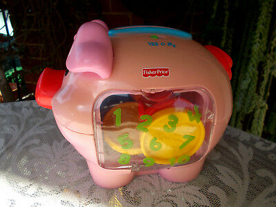 FISHER PRICE LEARN & LAUGH TALKING/MUSICAL/SINGING/COUNTING MONEY PIG -9 x COINS