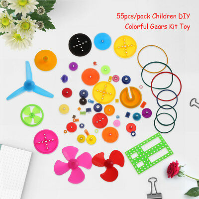 55x Colorful Plastic Belt Pulley Shaft Bushings Gears Set DIY Toy Accessories zg