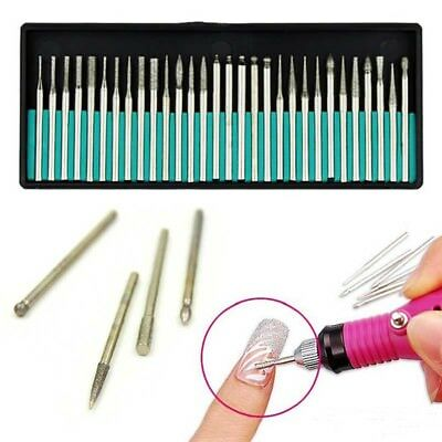 30 Nail Art Electric File Drill Bits Replacement Manicure Pedicure Kit Set Tools