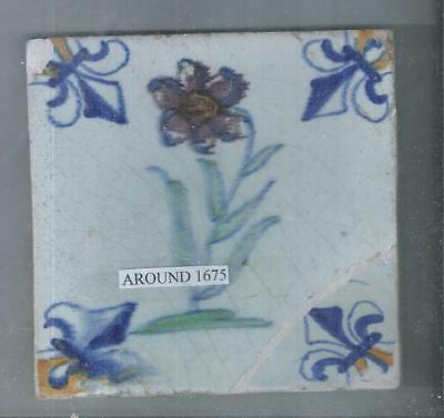 Antique Dutch Delft Tile Around 1675