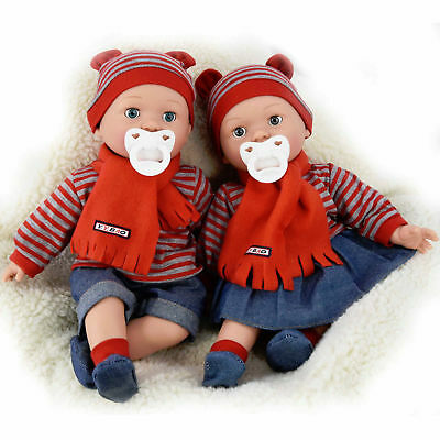 "16"" Realistic Baby Dolls With Freckles Soft Body Doll Sounds Dummy Closing Eyes"
