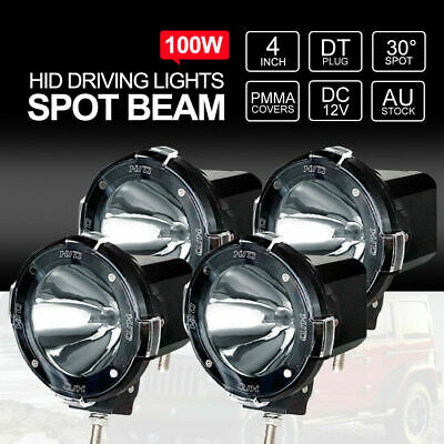 4 inch 400W HID Driving Lights Xenon Spot 4x4WD Spotlight 12V Black Two Pairs