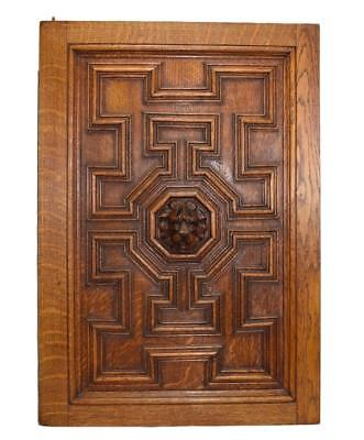 French Antique Gothic Hand Carved Lion Oak Wood Door Wall Panel 1 Left