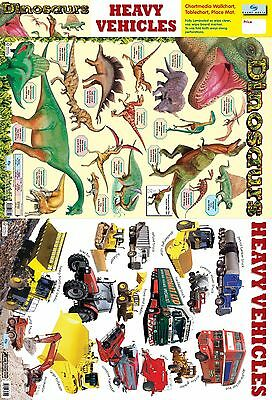 A2 Dinosaurs & Heavy Vehicles 2 in 1 Poster / early learning / Educational