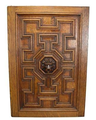French Antique Gothic Hand Carved Lion Oak Wood Door Wall Panel 2 Left