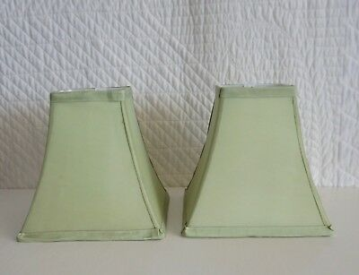 Pair Small Vintage Square Pale Green Satin Lamp Shades 19cm high Lined as found