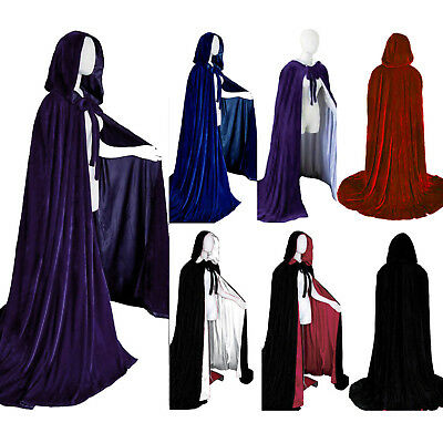 Velvet Hooded Cloak Cape Coat Witchcraft Gothic Medieval Vampire Cosplay Costume