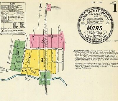 Mars, Pennsylvania~Sanborn Map© sheets (5) in full color~1905 and 1911