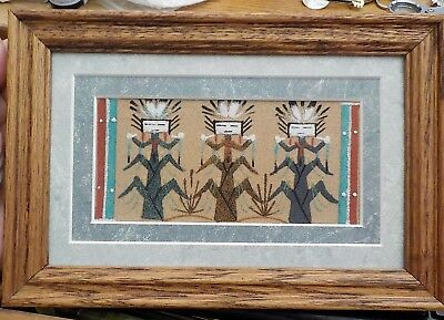 Native American Navajo Sand Painting - Framed Sand painting - by Simms