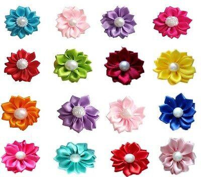 Mixed Flowers Hair Bows For Dog Cat Pet Rubber Bands Grooming Hair Accessories