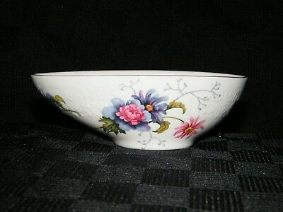 Crown Staffordshire Bone China Purple & Pink Flower Oval Bowl Egg England Floral