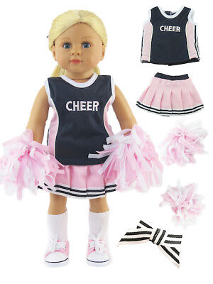 "4 Piece Pink Navy Blue Cheerleader Outfit For 18"" American Girl Doll Clothes"