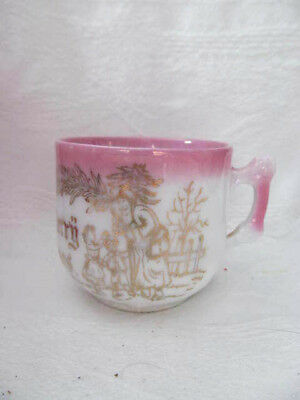 Merry Christmas SANTA CLAUS Antique Childs Lg Cup Mug~1890s Germany Pink Luster