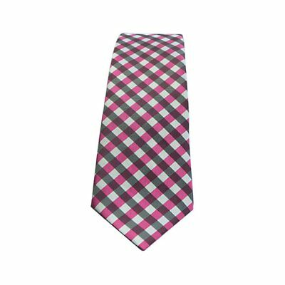 Showquest Checked Unisex Accessory Tie - Cerise/grey/white All Sizes