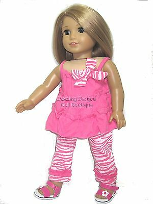 Pink Top & Zebra Pants Fits 18 Inch American Girl Doll Clothes 2 Piece Set