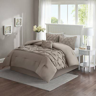 5 Piece Comforter Set Pinched Pleat Pintuck Tufted Bedding Full/Queen Size