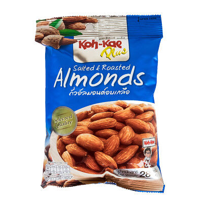 Koh-Kae Plus Selected Quality Snacks Vegan & Halal Salted & Roasted Almonds 28g