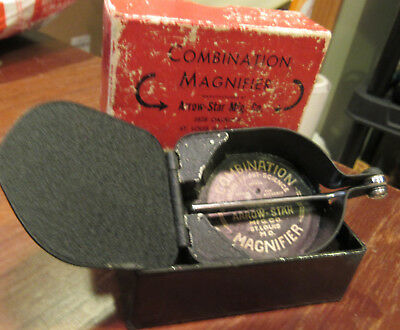 VTG Magnifying Combination Magnifier Jewellery ARROW STAR MFG ST LOUIS MO In BOX