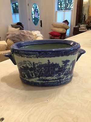 Vintage French Blue and White Cache Pot